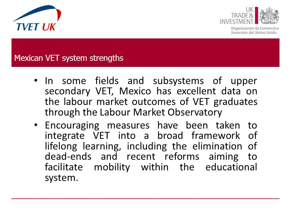 Mexican VET system strengths In some fields and subsystems of upper secondary VET, Mexico has excellent data on the labour market outcomes of VET graduates through the Labour Market Observatory Encouraging measures have been taken to integrate VET into a broad framework of lifelong learning, including the elimination of dead-ends and recent reforms aiming to facilitate mobility within the educational system.