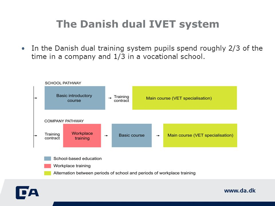 The Danish dual IVET system In the Danish dual training system pupils spend roughly 2/3 of the time in a company and 1/3 in a vocational school.