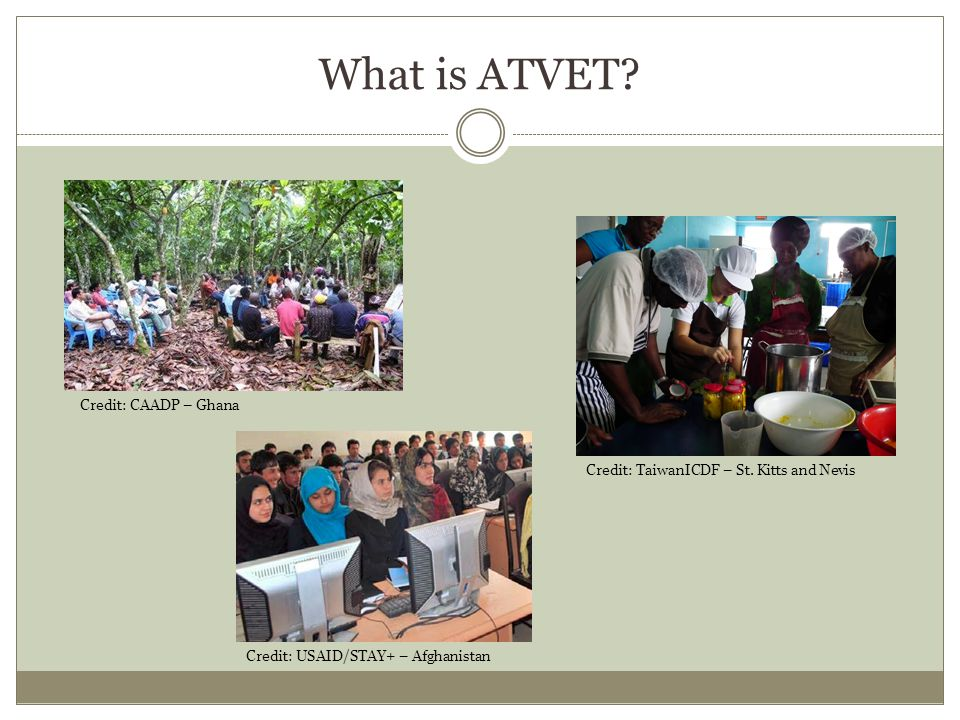Examples of recent ATVET projects OrganizationCountryOccupationSkillsEducational level USAID MozambiqueProductionJunior Farmer Field Life SchoolsNon-formal IPA Uganda Cash transfers to youth to pay vocational training fees AfDB World Bank EthiopiaEducation Extension/Development Agent in: Animal Science Animal Health Agricultural Cooperatives Natural Resources Plant Science Secondary USAIDEgyptEducation Curriculum development that fits within a value chain approach Post-secondary IFAD Bangladesh Madagascar Rwanda Production Business Livestock rearing Fish hatcheries Microenterprise Secondary Land OLakes East Timor Business Management Agribusiness Farm management Post-secondary IFADMongoliaTransport Machinery Driving Welding
