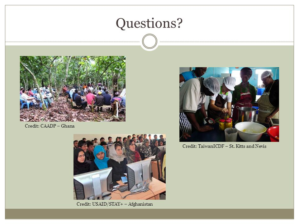 Questions. Credit: USAID/STAY+ – Afghanistan Credit: CAADP – Ghana Credit: TaiwanICDF – St.