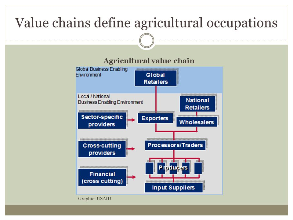 Value chains define agricultural occupations Agricultural value chain Farmers, fishers, herders, foresters