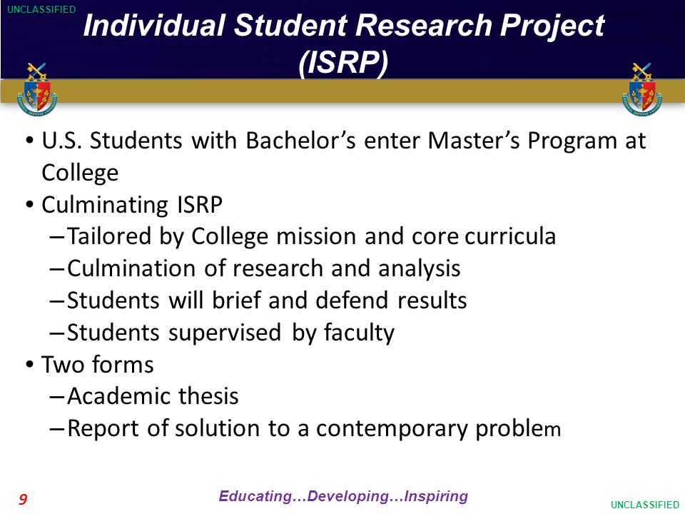UNCLASSIFIED Educating…Developing…Inspiring UNCLASSIFIED 9 Individual Student Research Project (ISRP) U.S.