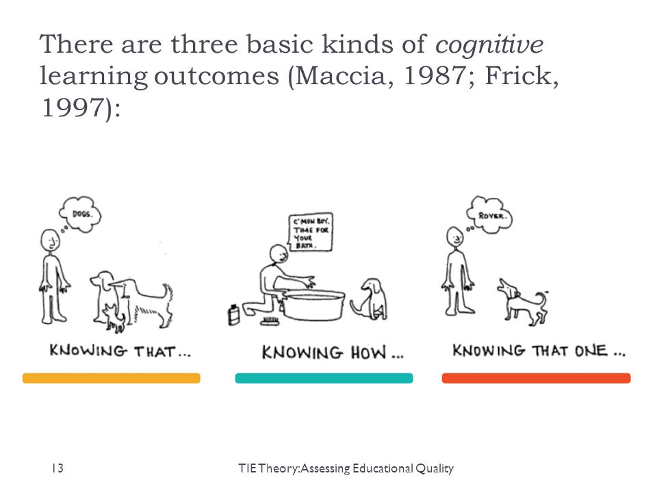 There are three basic kinds of cognitive learning outcomes (Maccia, 1987; Frick, 1997): 13TIE Theory: Assessing Educational Quality