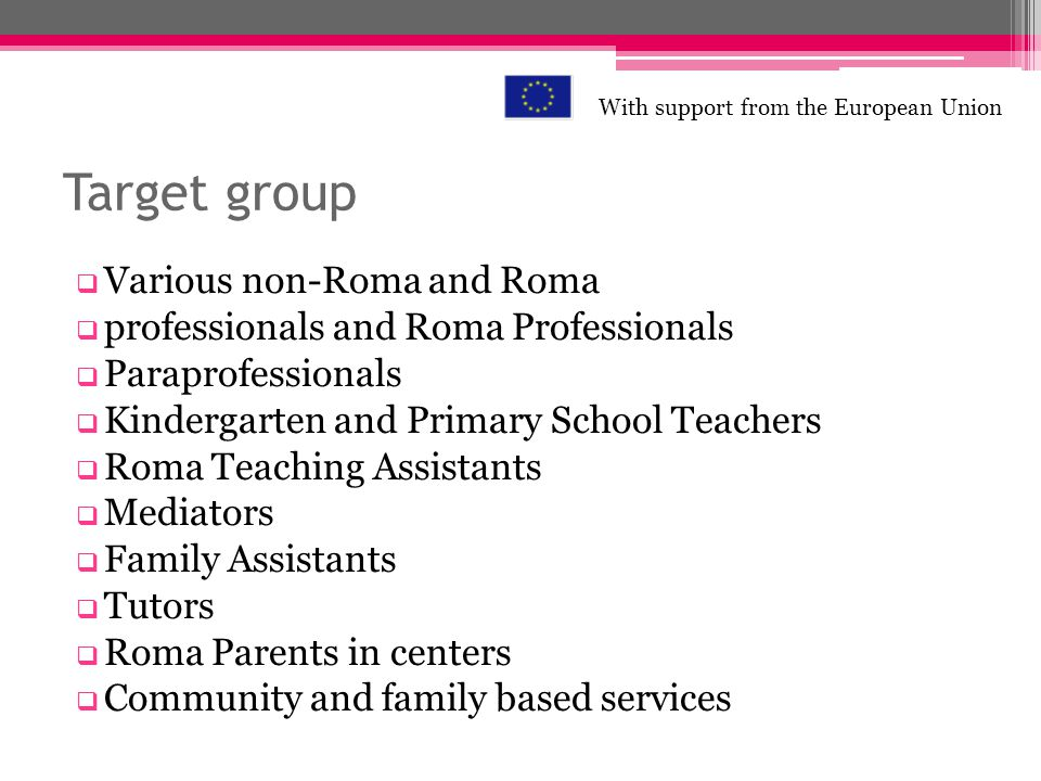 Target group Various non-Roma and Roma professionals and Roma Professionals Paraprofessionals Kindergarten and Primary School Teachers Roma Teaching Assistants Mediators Family Assistants Tutors Roma Parents in centers Community and family based services With support from the European Union