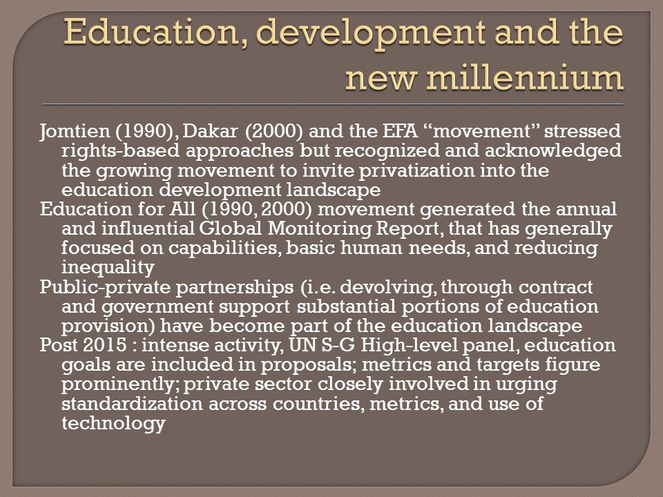 Study on what PISA tells us about equity (2005) : Policy makers should focus their attention on how basic skills vary between different groups of pupils and different schools within each country High-level Panel : Make data freely available to all for good governance Disaggregation to ensure all groups and individuals are covered first step a global strategy … Why.