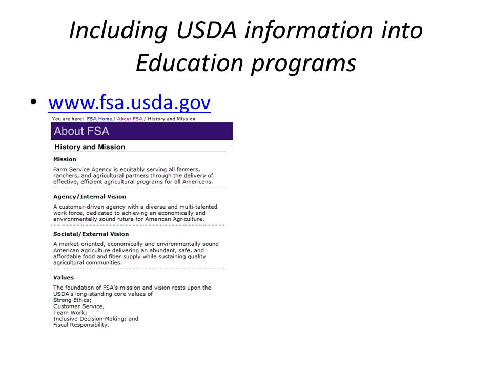 Including USDA information into Education programs www.fsa.usda.gov