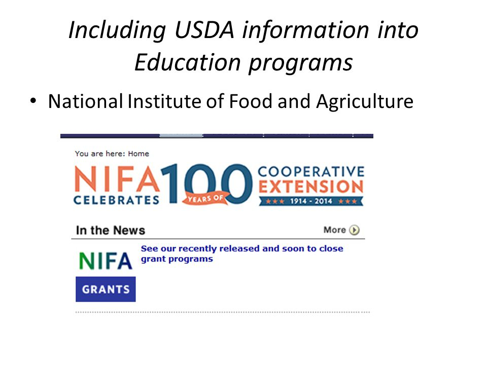 Including USDA information into Education programs National Institute of Food and Agriculture
