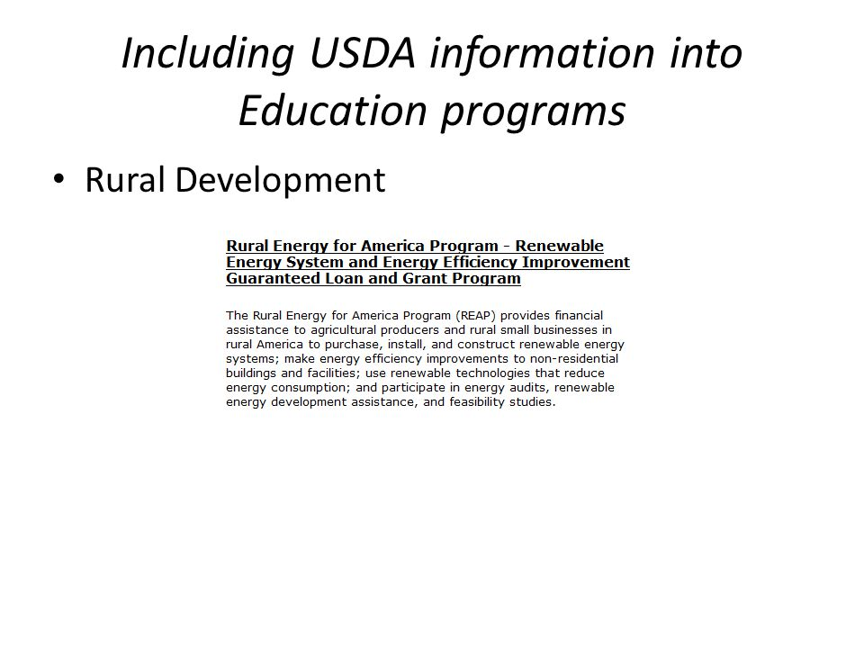 Including USDA information into Education programs Rural Development