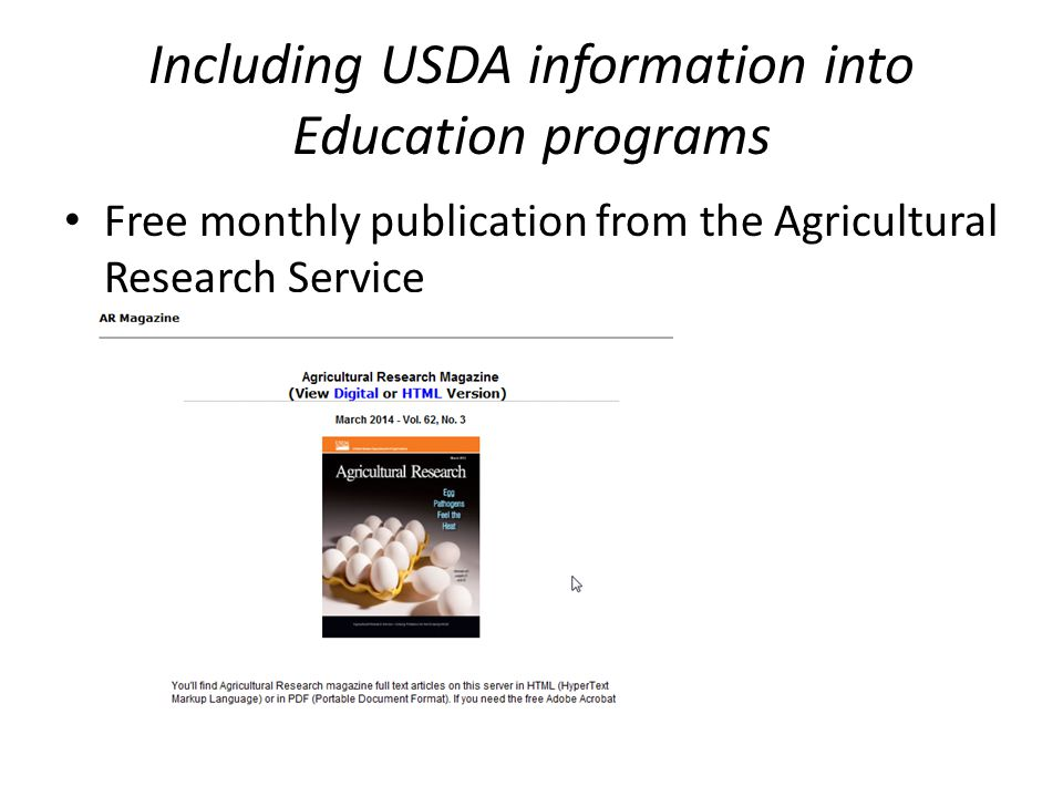 Including USDA information into Education programs Free monthly publication from the Agricultural Research Service