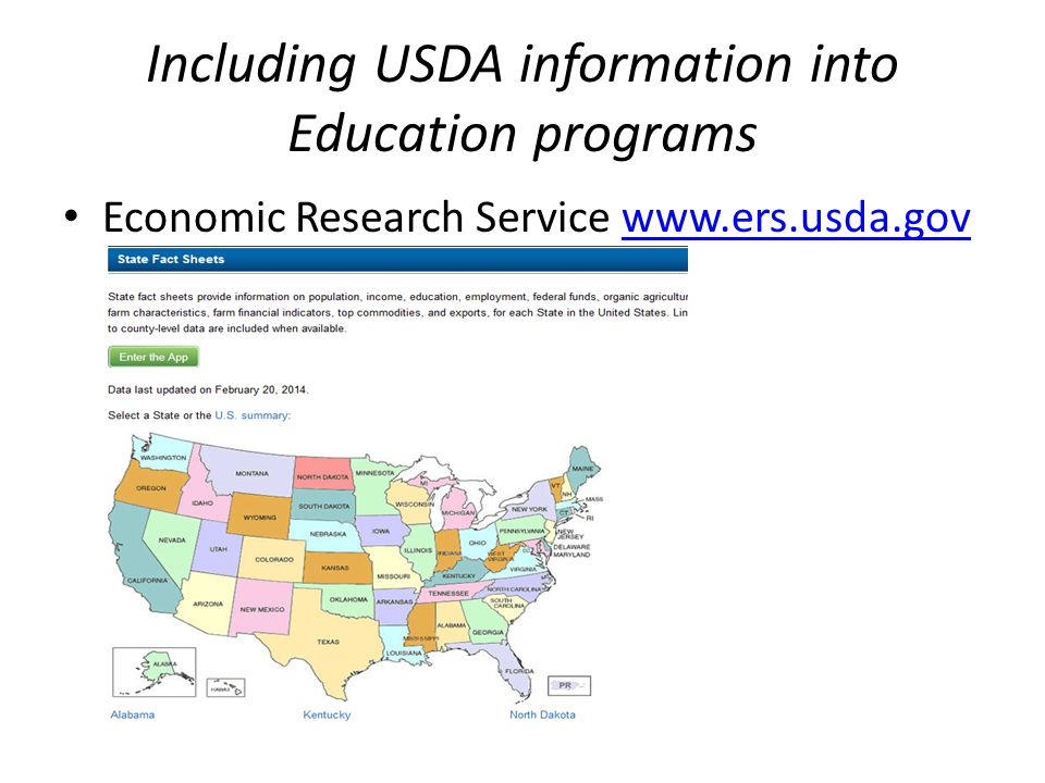 Including USDA information into Education programs NASS