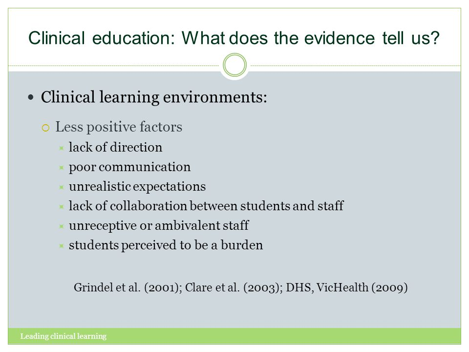 Clinical education: What does the evidence tell us? Clinical learning environments: Less positive factors lack of direction poor communication unreali