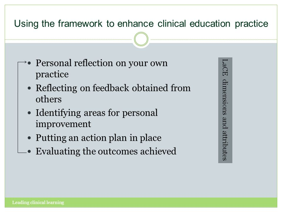 Using the framework to enhance clinical education practice Personal reflection on your own practice Reflecting on feedback obtained from others Identi