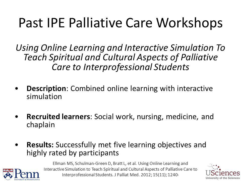 Past IPE Palliative Care Workshops Using Online Learning and Interactive Simulation To Teach Spiritual and Cultural Aspects of Palliative Care to Inte