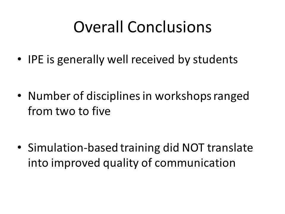 Overall Conclusions IPE is generally well received by students Number of disciplines in workshops ranged from two to five Simulation-based training di