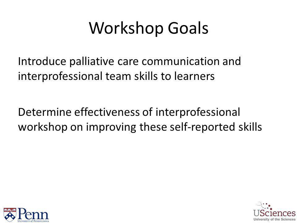 Workshop Goals Introduce palliative care communication and interprofessional team skills to learners Determine effectiveness of interprofessional work