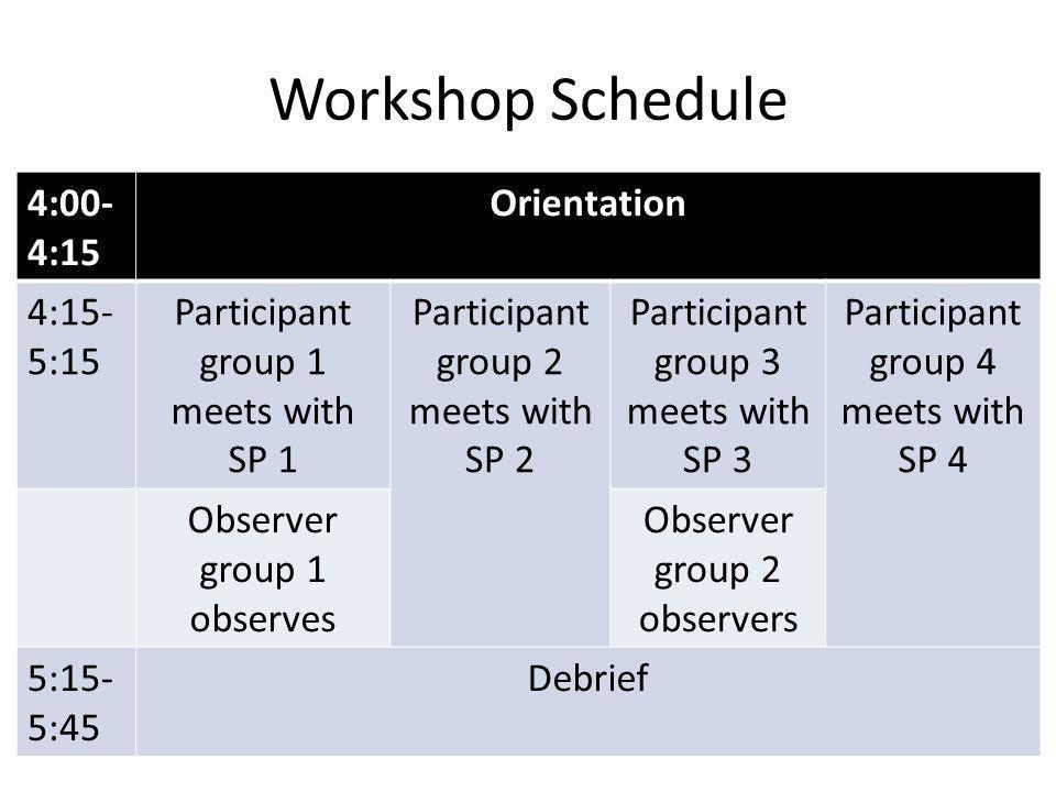 Workshop Schedule 4:00- 4:15 Orientation 4:15- 5:15 Participant group 1 meets with SP 1 Participant group 2 meets with SP 2 Participant group 3 meets