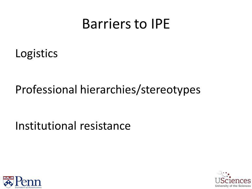 Barriers to IPE Logistics Professional hierarchies/stereotypes Institutional resistance
