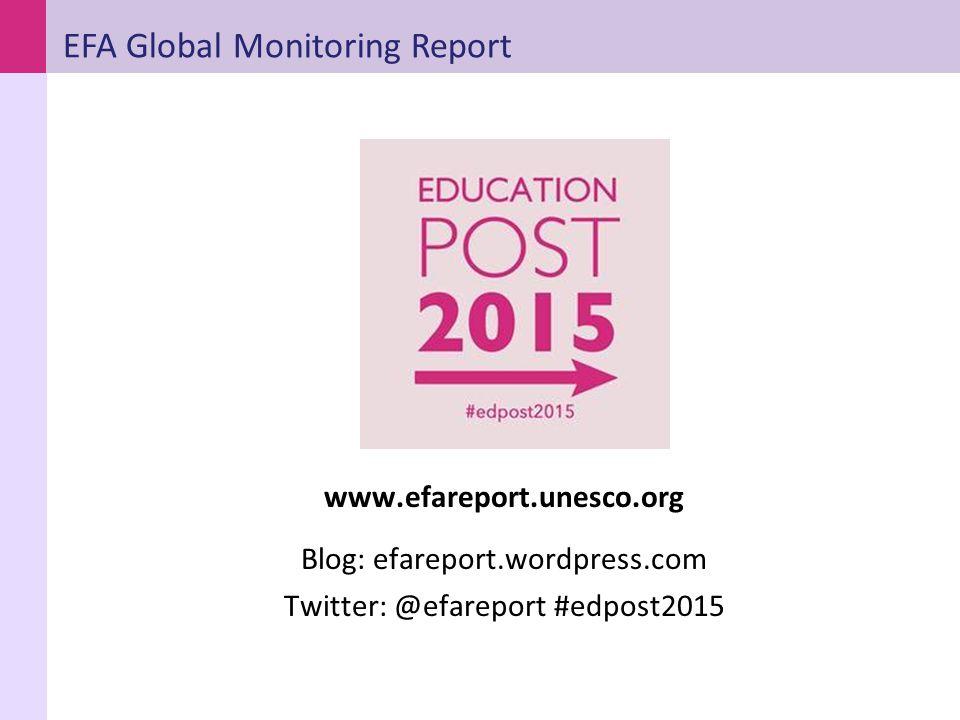 www.efareport.unesco.org Blog: efareport.wordpress.com Twitter: @efareport #edpost2015 EFA Global Monitoring Report