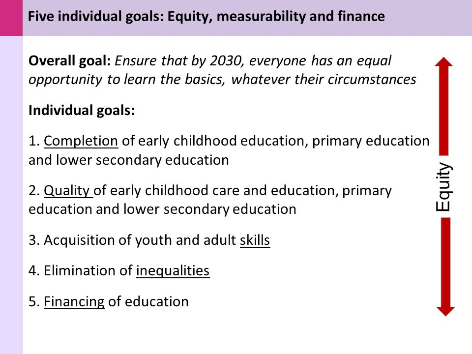 Five individual goals: Equity, measurability and finance Overall goal: Ensure that by 2030, everyone has an equal opportunity to learn the basics, wha