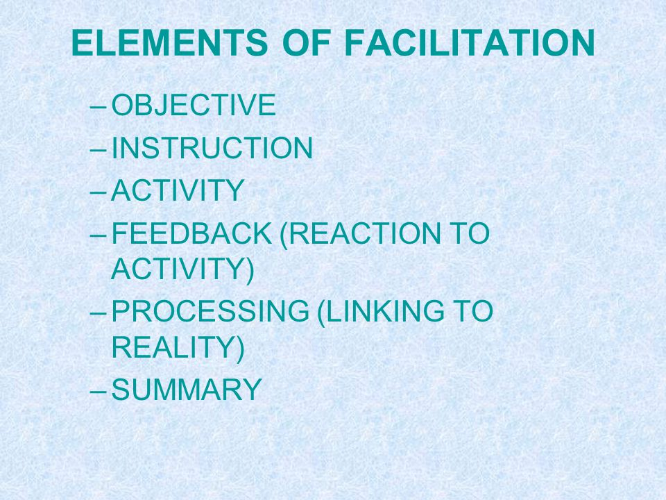 POP – ED NEEDS GOOD FACILITATION