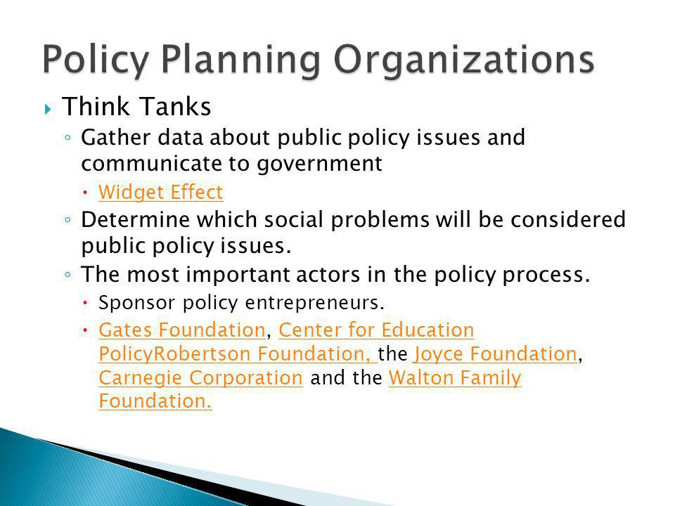 Think Tanks Gather data about public policy issues and communicate to government Widget Effect Determine which social problems will be considered public policy issues.