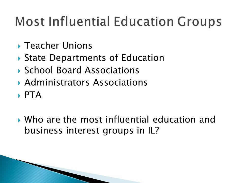 Teacher Unions State Departments of Education School Board Associations Administrators Associations PTA Who are the most influential education and business interest groups in IL