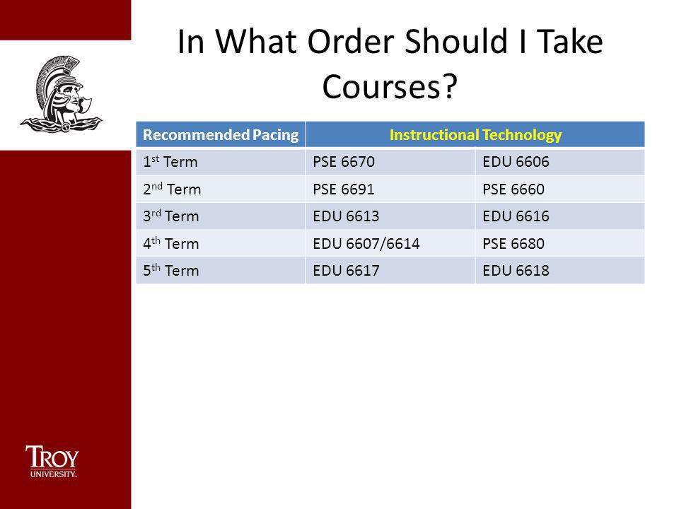 In What Order Should I Take Courses? Recommended PacingInstructional Technology 1 st TermPSE 6670EDU 6606 2 nd TermPSE 6691PSE 6660 3 rd TermEDU 6613E