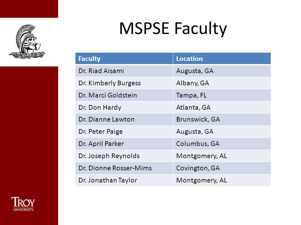 MSPSE Faculty FacultyLocation Dr. Riad AisamiAugusta, GA Dr. Kimberly BurgessAlbany, GA Dr. Marci GoldsteinTampa, FL Dr. Don HardyAtlanta, GA Dr. Dian