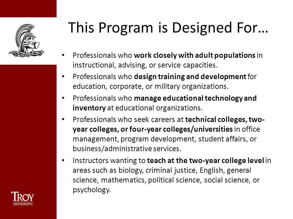 This Program is Designed For… Professionals who work closely with adult populations in instructional, advising, or service capacities. Professionals w