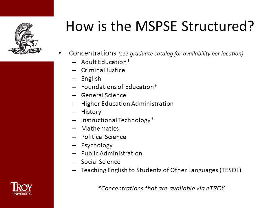 How is the MSPSE Structured.