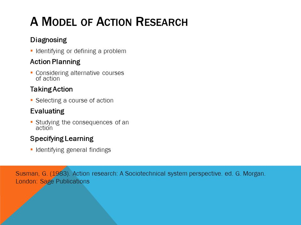 A M ODEL OF A CTION R ESEARCH Diagnosing Identifying or defining a problem Action Planning Considering alternative courses of action Taking Action Sel
