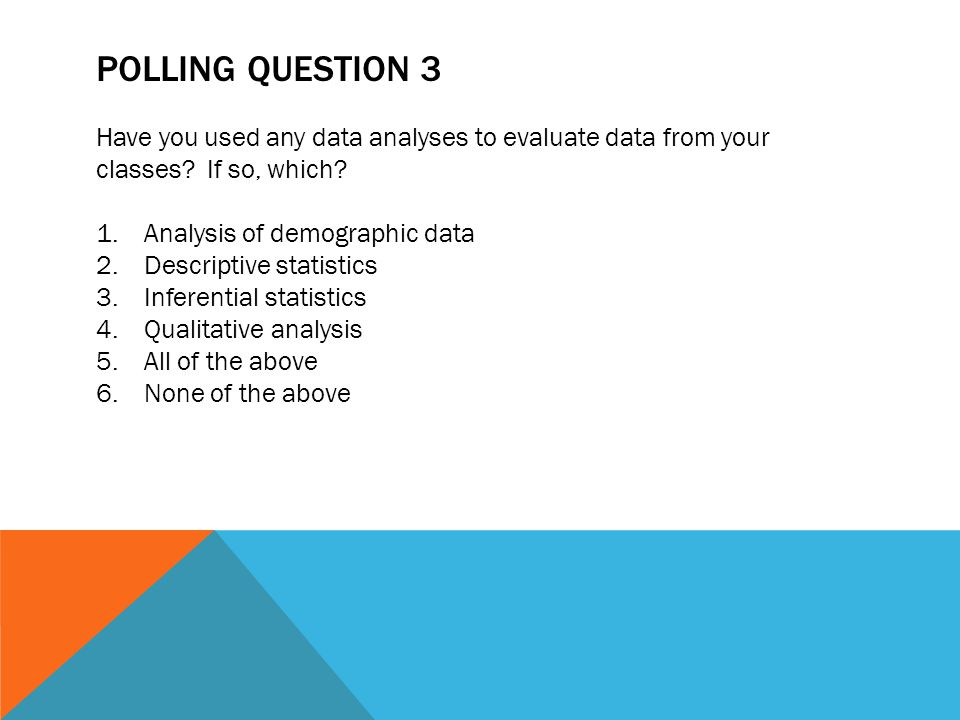 POLLING QUESTION 3 Have you used any data analyses to evaluate data from your classes? If so, which? 1.Analysis of demographic data 2.Descriptive stat