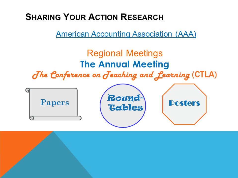 S HARING Y OUR A CTION R ESEARCH Regional Meetings The Annual Meeting The Conference on Teaching and Learning ( CTLA) American Accounting Association
