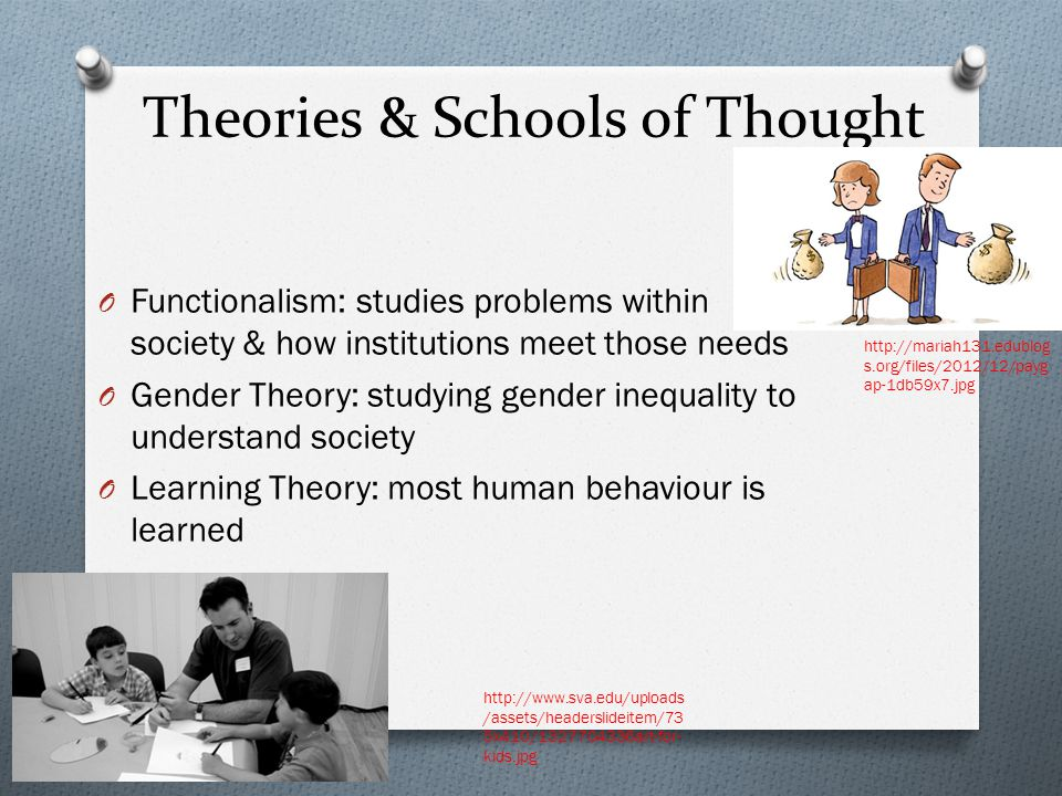 Theories & Schools of Thought O Functionalism: studies problems within society & how institutions meet those needs O Gender Theory: studying gender in