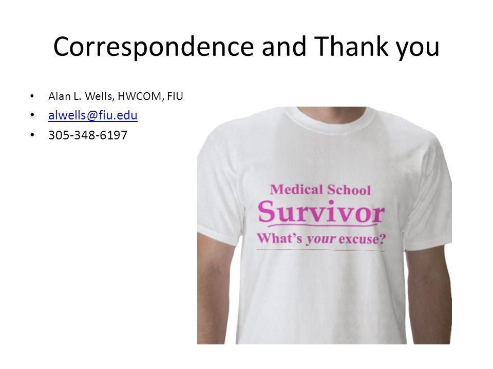Correspondence and Thank you Alan L. Wells, HWCOM, FIU alwells@fiu.edu 305-348-6197