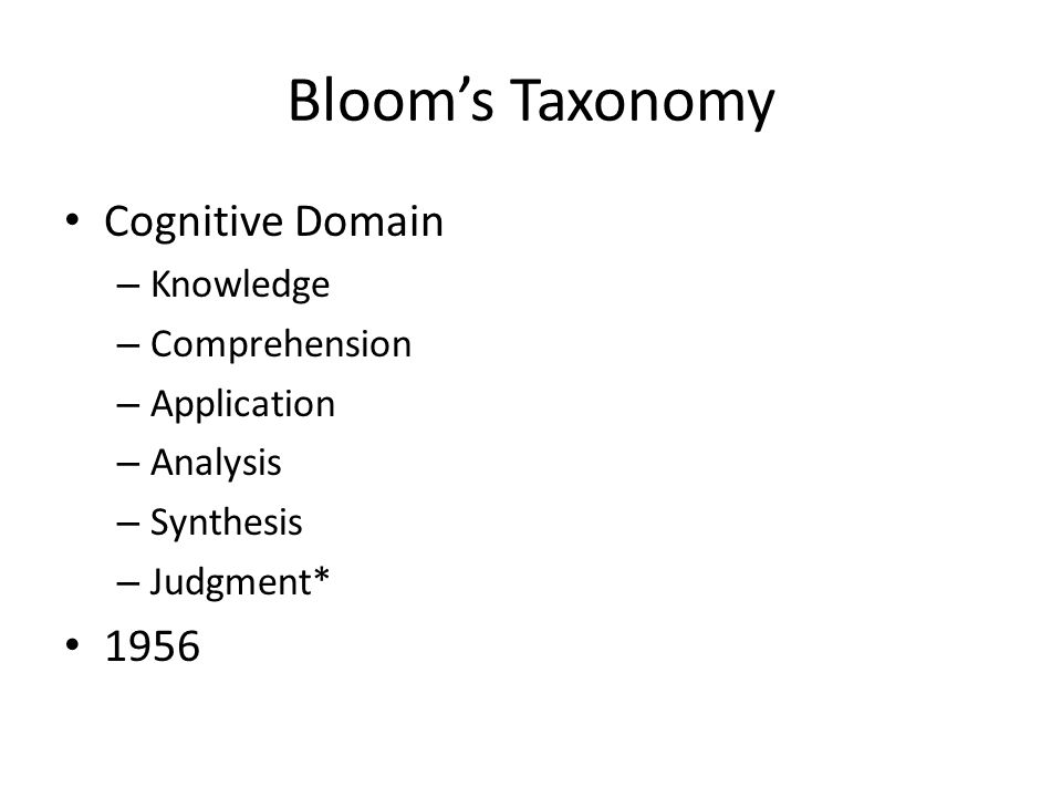 Blooms Taxonomy Cognitive Domain – Knowledge – Comprehension – Application – Analysis – Synthesis – Judgment* 1956