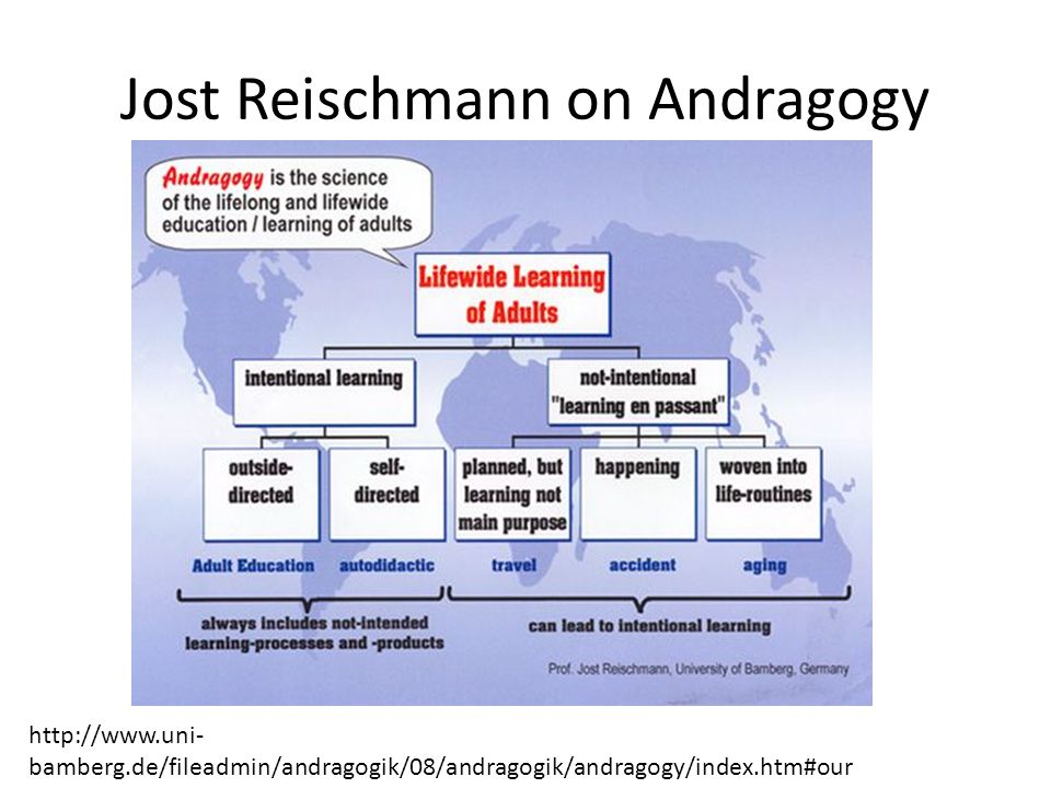 Jost Reischmann on Andragogy http://www.uni- bamberg.de/fileadmin/andragogik/08/andragogik/andragogy/index.htm#our
