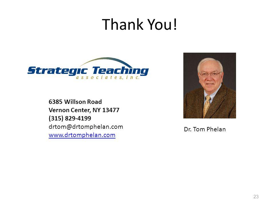 23 Thank You! 6385 Willson Road Vernon Center, NY 13477 (315) 829-4199 drtom@drtomphelan.com www.drtomphelan.com Dr. Tom Phelan