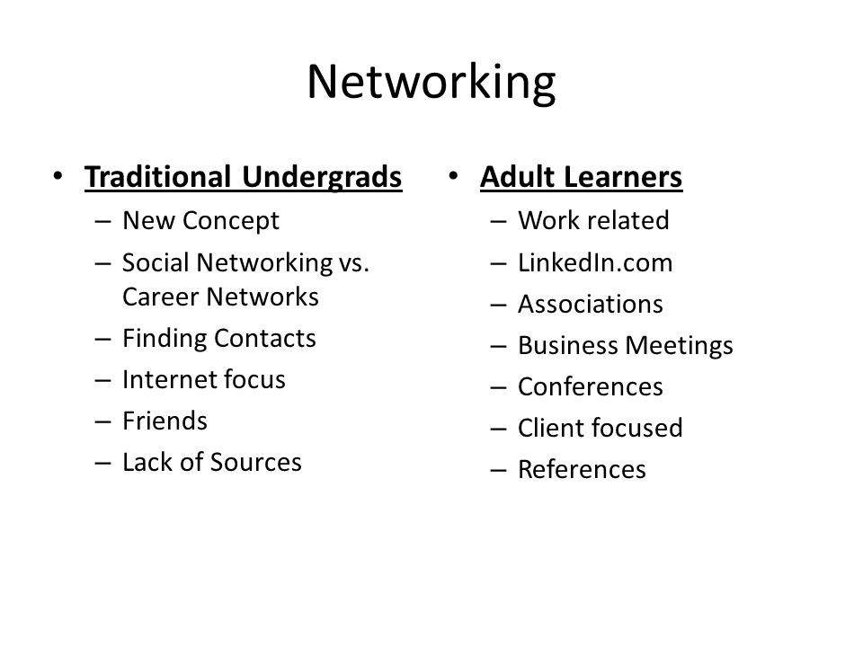 Networking Traditional Undergrads – New Concept – Social Networking vs.