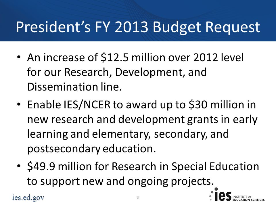 ies.ed.gov Presidents FY 2013 Budget Request An increase of $12.5 million over 2012 level for our Research, Development, and Dissemination line. Enabl