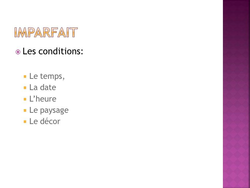 Les conditions: Le temps, La date Lheure Le paysage Le décor