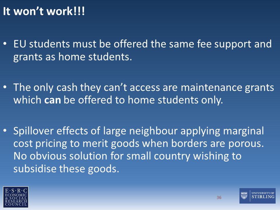 It wont work!!. EU students must be offered the same fee support and grants as home students.
