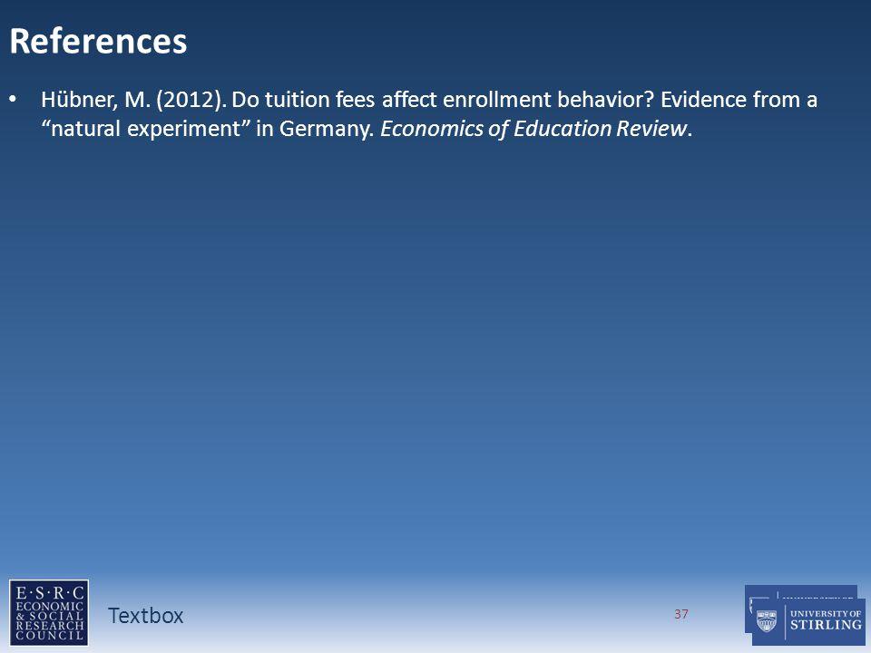 References Hübner, M. (2012). Do tuition fees affect enrollment behavior.