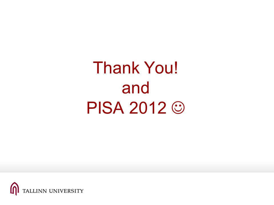 Thank You! and PISA 2012