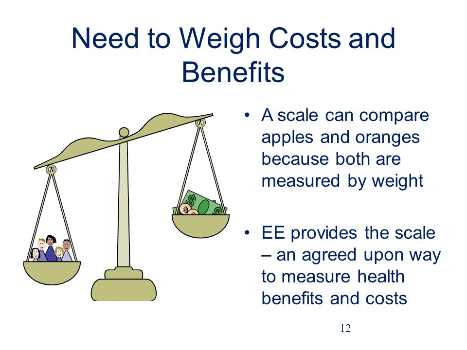 Need to Weigh Costs and Benefits A scale can compare apples and oranges because both are measured by weight EE provides the scale – an agreed upon way to measure health benefits and costs 12