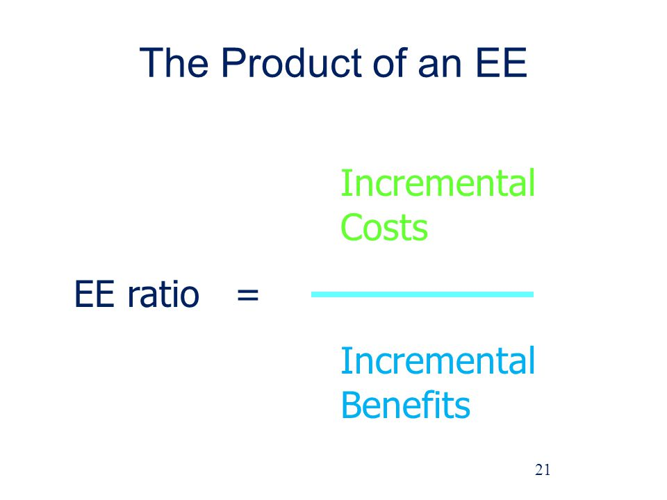 The Product of an EE 21 Incremental Costs EE ratio = Incremental Benefits