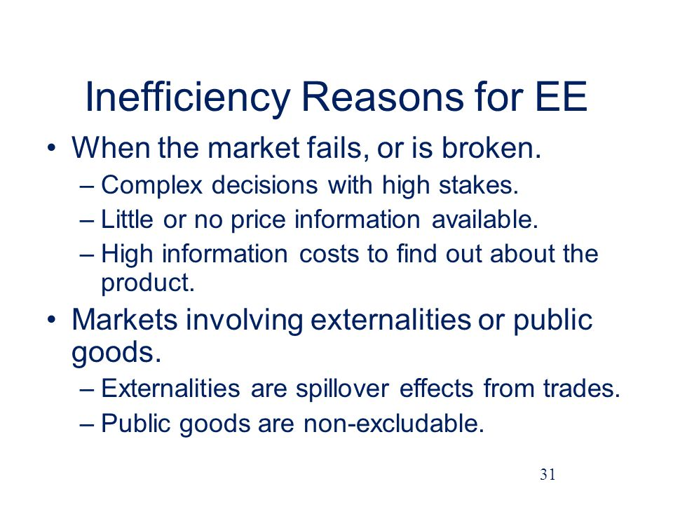 Inefficiency Reasons for EE When the market fails, or is broken.