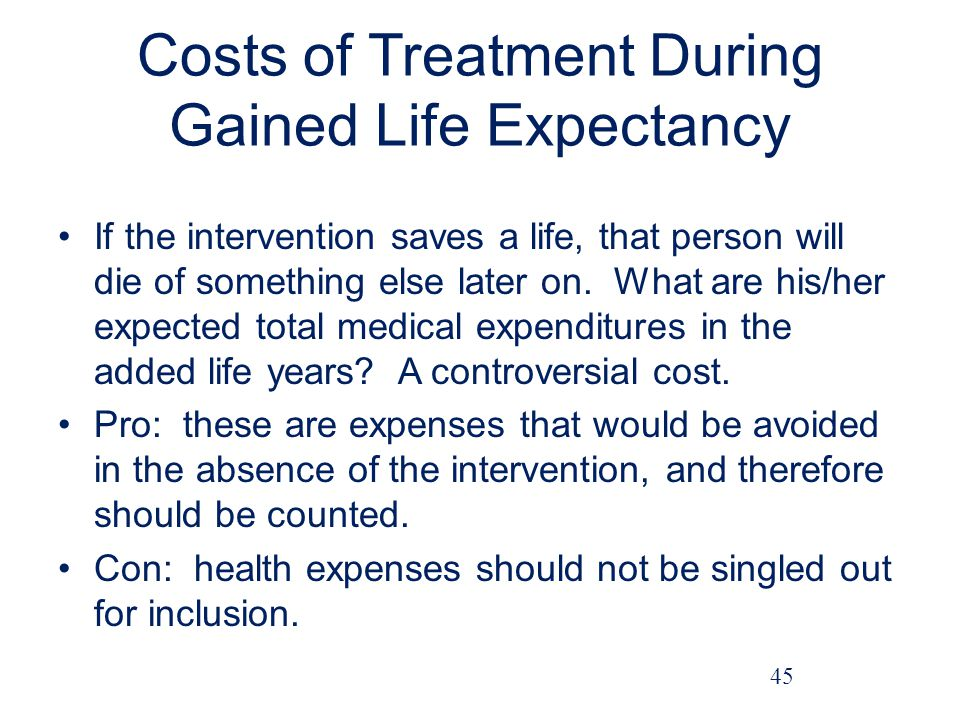 Costs of Treatment During Gained Life Expectancy If the intervention saves a life, that person will die of something else later on.
