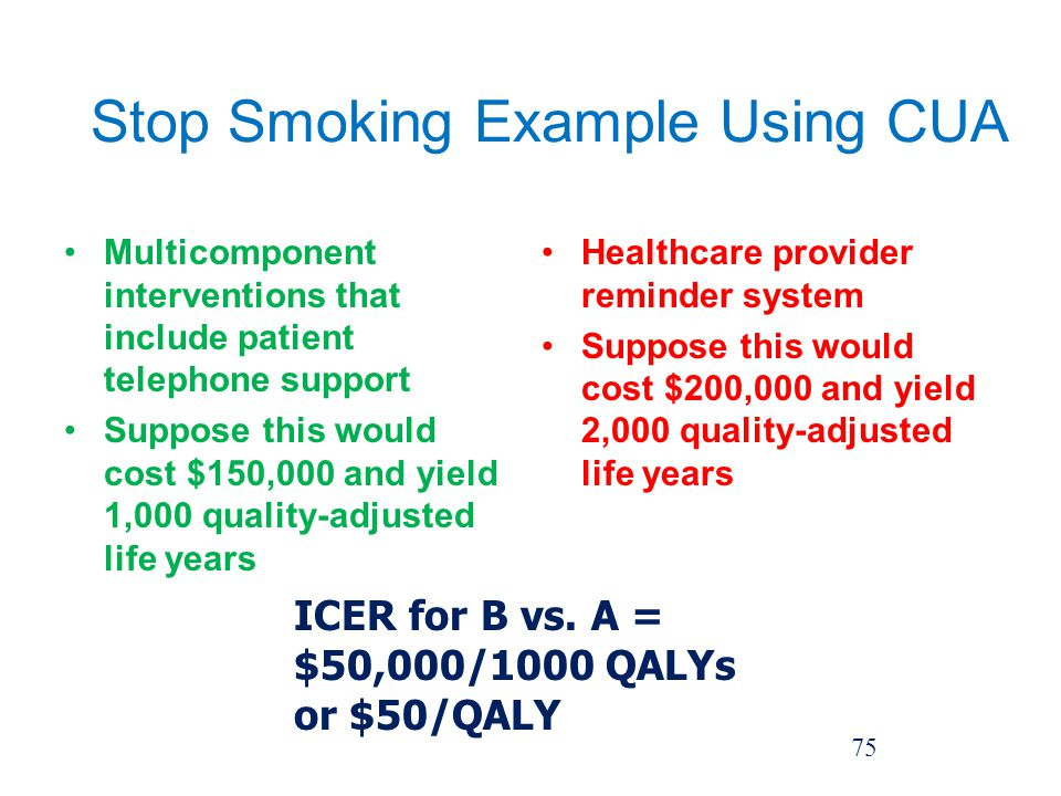 Stop Smoking Example Using CUA Multicomponent interventions that include patient telephone support Suppose this would cost $150,000 and yield 1,000 quality-adjusted life years Healthcare provider reminder system Suppose this would cost $200,000 and yield 2,000 quality-adjusted life years 75 ICER for B vs.