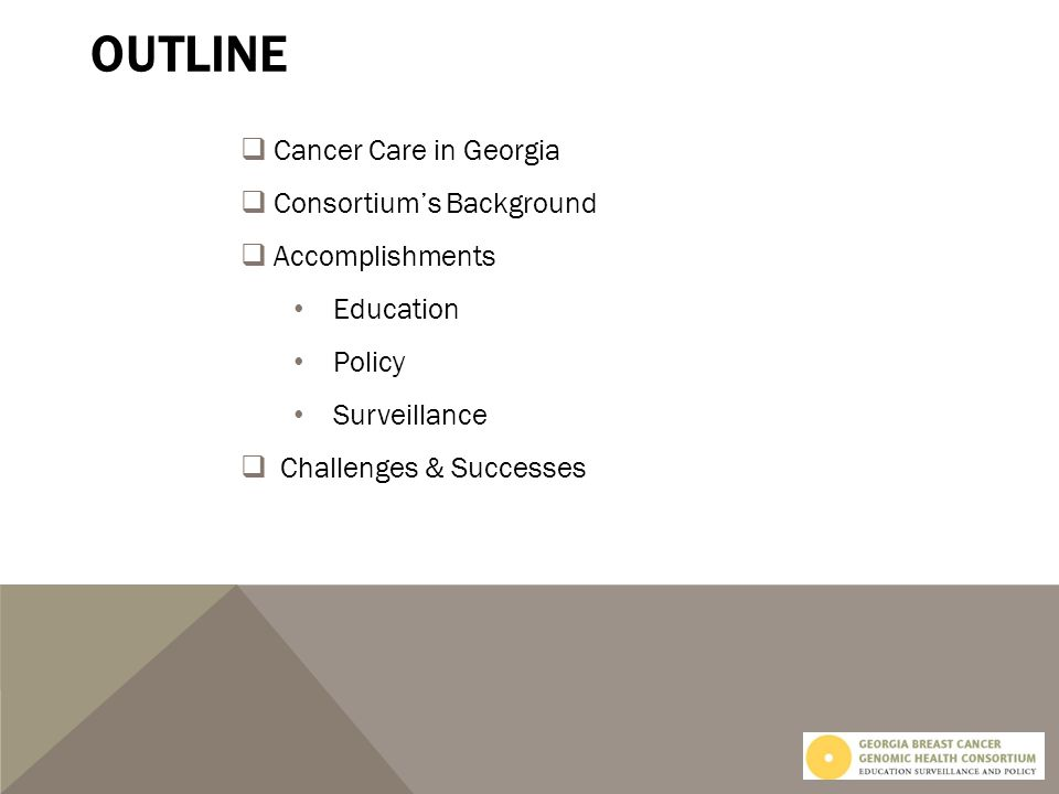 CANCER CARE in GEORGIA 159 Counties 17 Cancer Genetic Counselors 18 Health Districts 1 NCI Hospital 42 CoC Hospitals Resources are largely based in Atlanta Metropolitan Area Source: statecancerprofiles.cancer.gov
